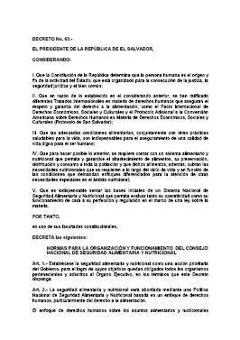 Decreto Nº 63. Normas para la Organización y funcionamiento del Consejo Nacional de Seguridad Alimentaria y Nutricional