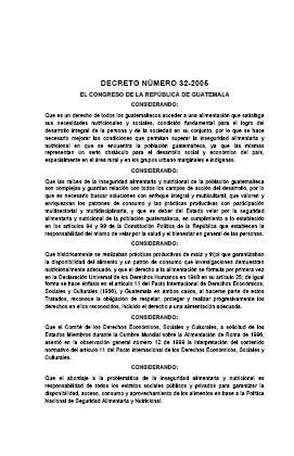 Decreto Número 32-2005. Ley del Sistema Nacional de Seguridad Alimentaria y Nutricional.