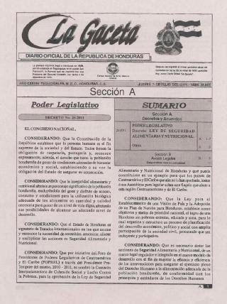 Decreto Nº 25-2011. Ley de Seguridad Alimentaria y Nutricional.