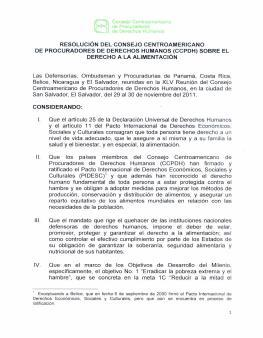 Resolución del Consejo Centroamericano de Procuradores de Derechos Humanos (CCPDH) sobre el Derecho a la Alimentación.