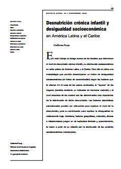 Desnutrición crónica infantil y desigualdad socioeconómica en América Latina y el Caribe