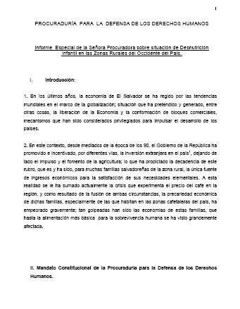 Informe especial de la Señora Procuradora sobre situación de Desnutrición Infantil en las Zonas Rurales del Occidente del País