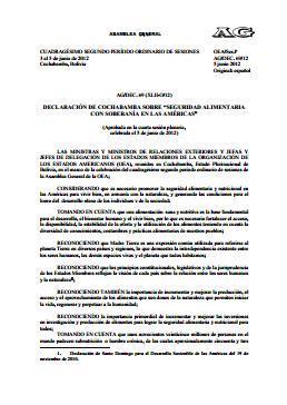 """Declaración de Cochabamba sobre """"Seguridad Alimentaria con Soberanía en las Américas"""""""