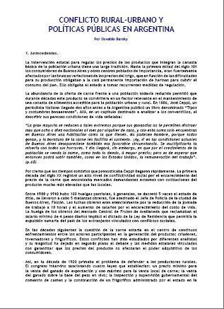 Conflicto Rural-Urbano y Políticas Públicas en Argentina