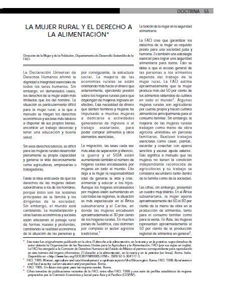 La Mujer Rural y el Derecho a la Alimentación.