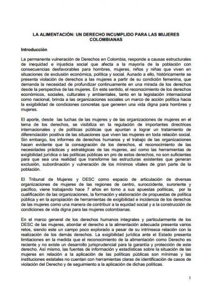 La alimentación: un derecho incumplido para las mujeres colombianas.