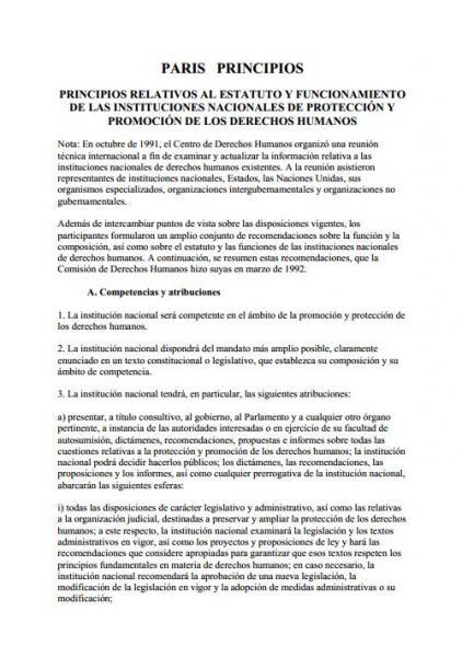 Principio de Paris. Principios relativos al estatuto y funcionamiento de las instituciones nacionales de protección y promoción de los derechos humanos.