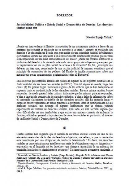 Justiciabilidad, Política y Estado Social y Democrático de Derecho: Los derechos sociales como test