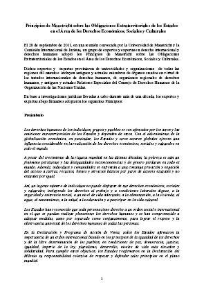 Principios de Maastricht sobre las Obligaciones Extraterritoriales de los Estados  en el Área de los Derechos Económicos, Sociales y Culturales.