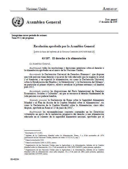 Resolución aprobada por la Asamblea General: El derecho a la alimentación