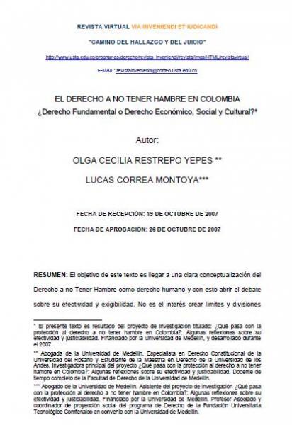 El Derecho a no tener hambre en Colombia: ¿Derecho Fundamental o Derecho Económico, Social y Cultural?