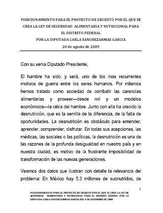 Posicionamiento para el Proyecto de Decreto por el que se crea la Ley de Seguridad Alimentaria y Nutricional para el Distrito Federal