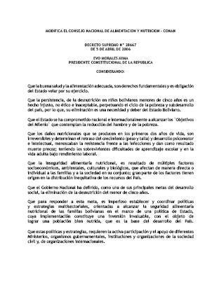 Decreto Supremo N° 28667. Modifica el Consejo Nacional de Alimentación y Nutrición – CONAN