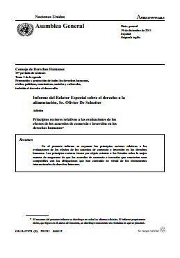 Principios rectores relativos a las evaluaciones de los efectos de los acuerdos de comercio e inversión en los derechos humanos