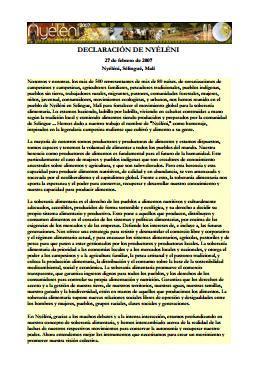 Declaración de Nyéléni
