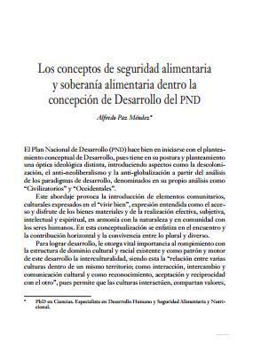 Los conceptos de seguridad alimentaria y soberanía alimentaria dentro la concepción de Desarrollo del PND.