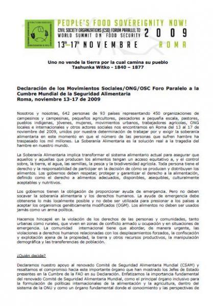 Declaración de los Movimientos Sociales/ONG/OSC. Foro Paralelo a la Cumbre Mundial de la Seguridad Alimentaria Roma, 2009.