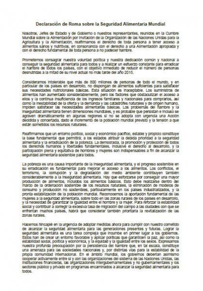 Declaración de Roma sobre la Seguridad Alimentaria Mundial