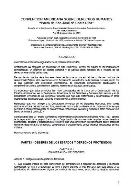 Convención Americana Sobre Derechos Humanos: Pacto de San José de Costa Rica
