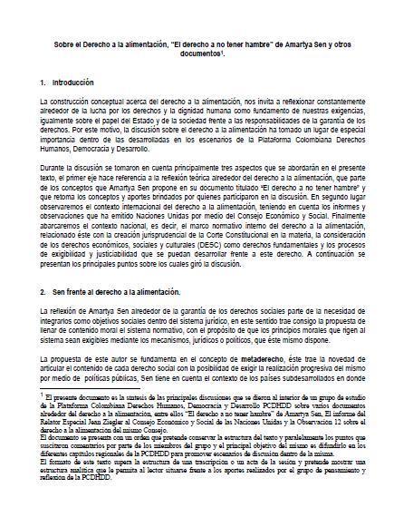 """Sobre el Derecho a la alimentación, """"El derecho a no tener hambre"""" de Amartya Sen y otros documentos"""