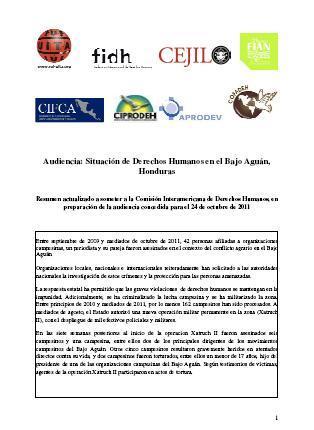 Audiencia: Situación de Derechos Humanos en el Bajo Aguán, Honduras.