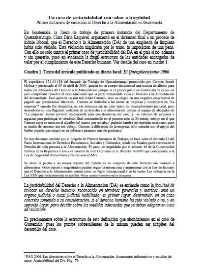 Un caso de justiciabilidad con sabor a fragilidad: Primer dictamen de violación al Derecho a la Alimentación en Guatemala