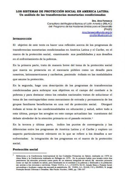 Los Sistemas de Protección Social en América Latina: Un análisis de las transferencias monetarias condicionadas