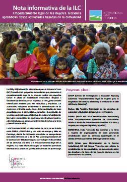 Empoderamiento legal de las mujeres: lecciones aprendidas desde actividades basadas en la comunidad. Nota informativa de la ILC.