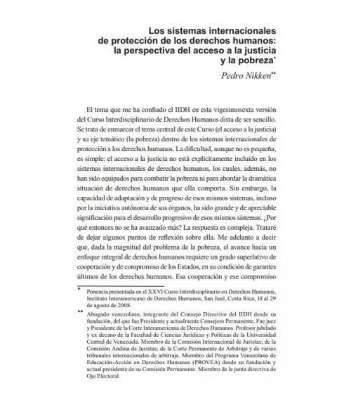 Los sistemas internacionales de protección de los derechos humanos: la perspectiva del acceso a la justicia y la pobreza