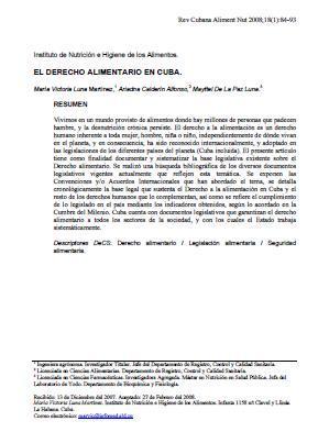El Derecho Alimentario en Cuba