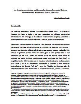 Los DESC en el marco del Sistema Interamericano: Mecanismos para su protección