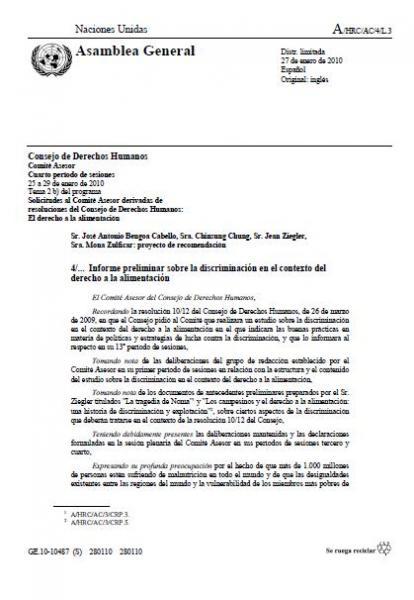 Informe preliminar sobre la discriminación en el contexto del derecho a la alimentación