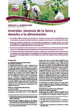 Inversión, tenencia de la tierra y derecho a la alimentación