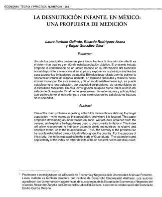 La desnutrición infantil en México: una propuesta de medición