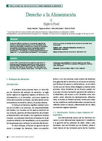 Derecho a la Alimentación. Conclusiones del grupo de estudio sobre soberanía alimentaria