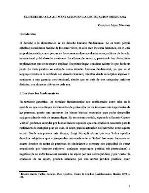 El derecho a la alimentación en la legislación Mexicana