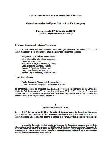 Caso Comunidad indígena Yakye Axa Vs. Paraguay. Sentencia de 17 de junio de 2005