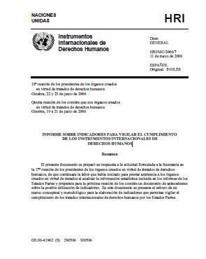 Informe sobre indicadores para vigilar el cumplimiento de los instrumentos internacionales de derechos humanos