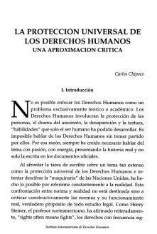 La Protección Universal de los Derechos Humanos, una aproximación crítica.