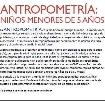Antropometría: niños menores de 5 años