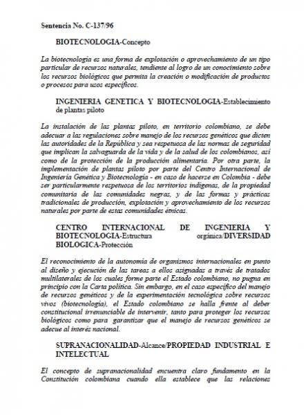 """Sentencia No. C-137/96 """"Biotecnología"""""""